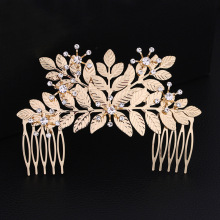 Dower me Boho Gold Leaf Crown Bridal Hair Comb Accessories Vintage Wedding Hair Piece Headwear Women Jewelry