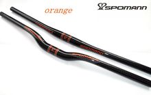 SPOMANN Full Carbon Bicycle Handlebar Flat Riser Swallow Shaped Bike Handle Bar Orange Color 3K Gloss Manillar Bicicleta Parts