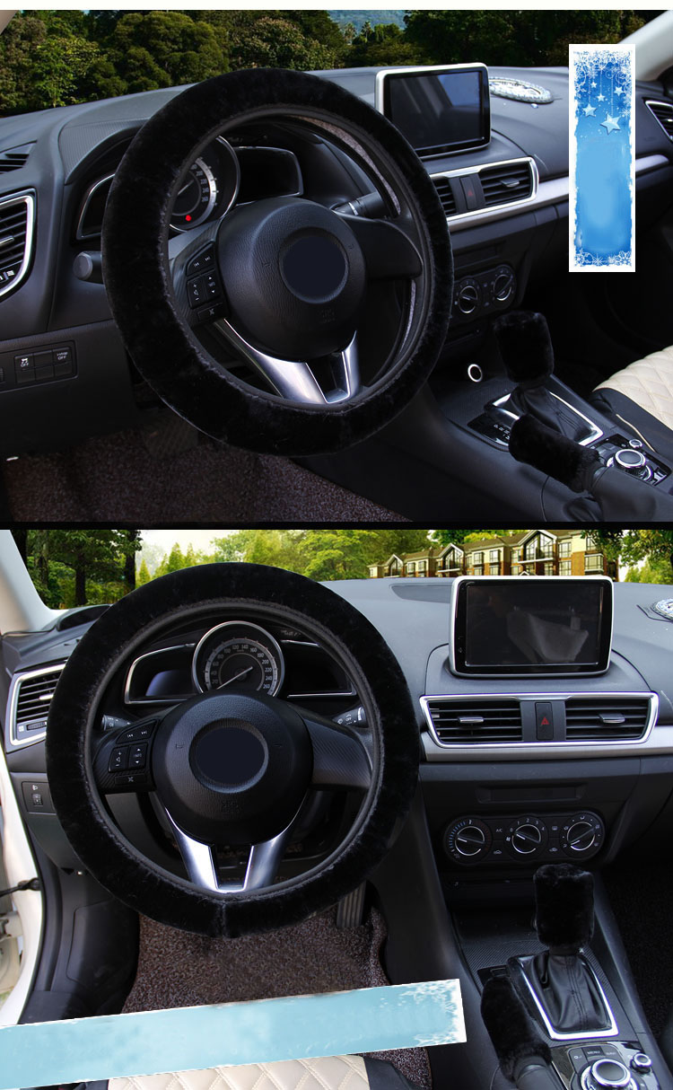 winter Steering Wheel Cover+Handbrake cover + car Automatic Covers / Warm Super thick Plush Gear Shift Collar 11