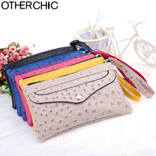 OTHERCHIC New Ostrich Pattern Women's Clutches Change Purse Clutch Bag Women Wallet  Coin Case Purse for phone Galaxy 6N06-04