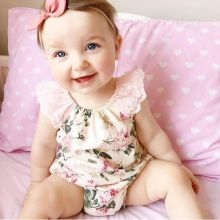 New Style Rose Floral Printed Baby Romper  Vintage Baby Girls Jumpsuits Lace Floral Printes Baby Rompers Baby Girl Clothes