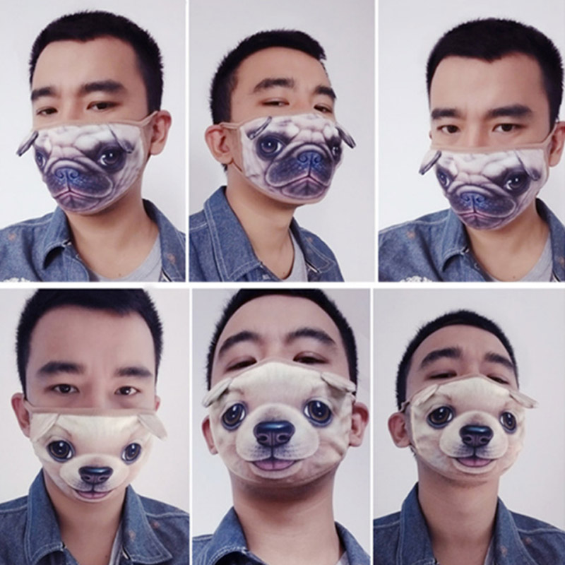 Fashion Women 3D Cotton Face Masks Mouth-muffle Anti Dust Windproof Funny Cat Dog Tiger Pig Masks