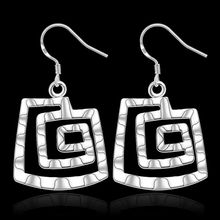 Free Shipping!!Wholesale silver plated Earring,925 jewelry silver,Square thread Earrings SMTE344
