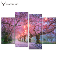 4 Pcs/Set Pink Cherry Tree Canvas Print Painting Modern Natural Landscape Wall Art Picture for Living Room Bedroom Decor