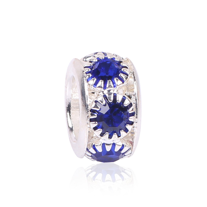 NEW Free Shipping 1Pc Jewelry Silver Bead Charm European Alloy Bead 7 Color Crystal Fit Pandora