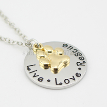 "2015 Pet Loss Jewelry""Live Love Rescue"" Necklace Pet Rescue Memorial Jewelry Gold Paw Print necklace"