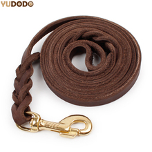 1.2CM Width Handmade Genuine Dog Leather Heavy Duty Cooper Hook Braided Strong Pet Leash For Medium Poppy Dog(China)
