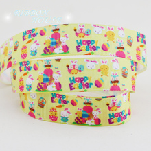 "(50 yards/roll) 7/8"" (22mm) Cartoon printed grosgrain ribbon gift happy easter ribbons"