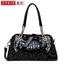 ZOOLER Brand Genuine Leather Women Tote Bag Shoulder Bag Female Crocodile Pattern Chain Bag Crossbody Discolor Blue Sequins Bag(China)
