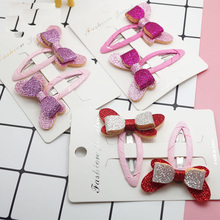 10 pairs/lot , Glitter Butterfly Hair Bow Snap Clips(China)