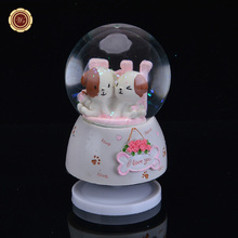 WR Art Crafts Novelty Music Box Valentines Day Gifts Cute Dogs Crystals Balls Gift Ideas Quality Home Office Accessory 8X8X11cm(China)