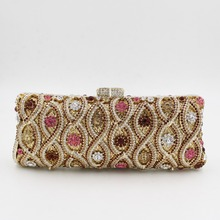 Long Square Designer Evening Bags Clutch for Women with Golden Chain Pink Crystal Clutch for Prom Cheap UK Sale Cocktail Purses