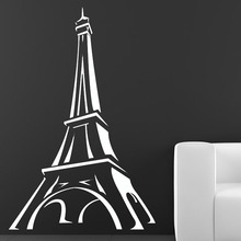 Promotion Paris Wall Decal Cartoon Eiffel Tower Wall Decor Sticker Living Room Hollow Out DIY Home Decoration(China)