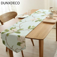 DUNXDECO Table Runner Flora Tablecloth Linen Look Fabric French Country Style Kitchen Mesa Garden Party Decoration Fabric