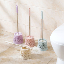 STAINLESS STEEL HOLLOW BASE HOLDER SET BATHROOM TOILET WC CLEANING BRUSH