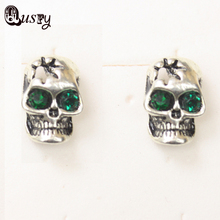Retro Gothic Punk Style Skull Stud AAA Earring Green Austrian crystal women's earrings ec