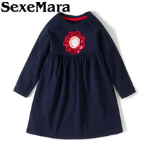 SexeMara Girl cotton dress fashion sun flower dress 2017 autumn winter children's clothes comfortable dress children clothing(China)