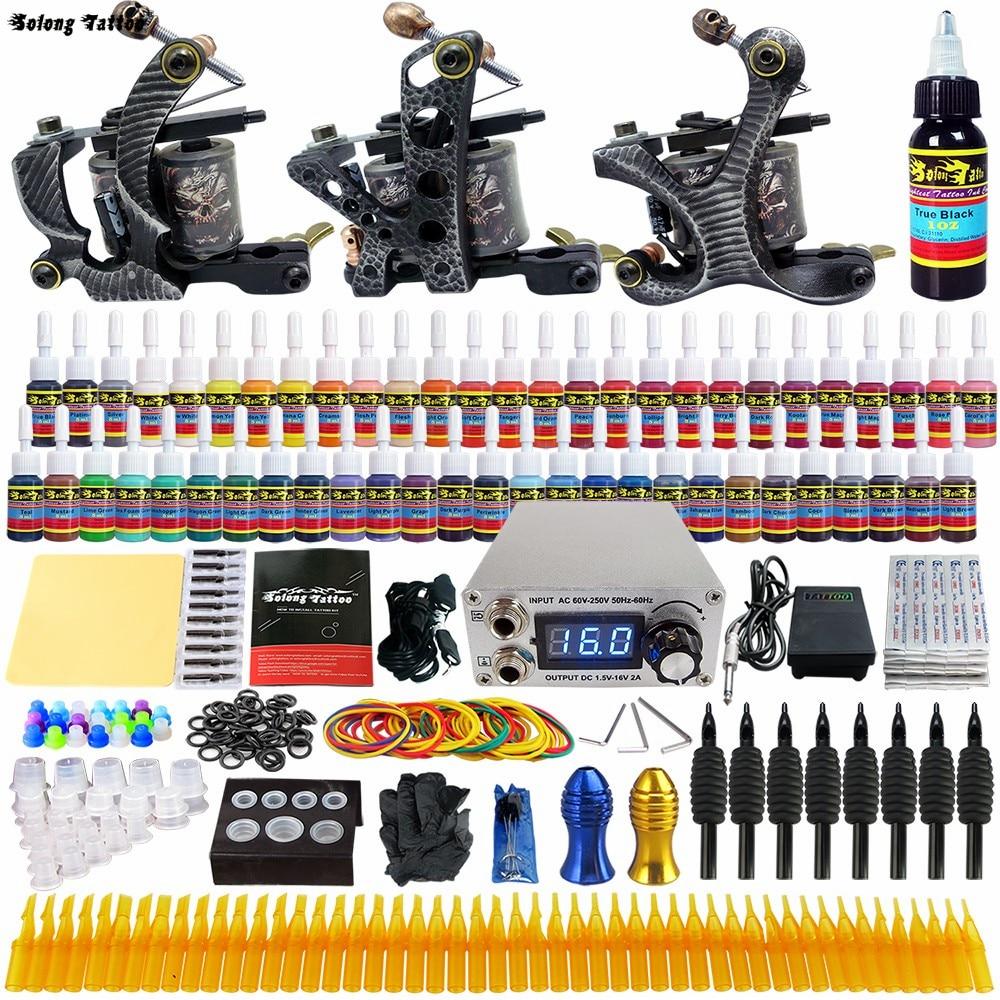 Solong Tattoo Complete Tattoo Kits 3 Pro Handmade Coil Machine Guns Power Supply Foot Pedal Grip Tip Ink Set TKC01<br>
