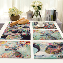 CAMMITEVER Colorful Cat Zebra Bird Deer Animal Dinner Mat Kitchen Bar Accessories Dining Table Mats Bowl Pad Table Decoration