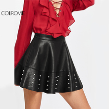 COLROVIE PU Leather Flared Mini Skirt Women Pearl Embellished Raw Hem Black Cute Skirts 2017 Autumn Zip Side High Waist Skirt(China)