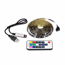 DC 5V 5050 SMD USB cable power supply RGB LED strip light 1m 2m 3m 4m 5m USB LED light + RF Remoter led Controller TV Decor lamp