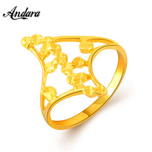 Andara Simple Design Fashion Cocktail Rings 24k Gold Vacuum Plating For Women Vintage Gold Filled Ring Anel Jewelry JR081