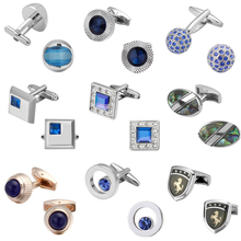 Luxurious crystal blue Cufflinks quality wedding men Cufflinks Crystal Square Round Golden Silver Luxury Vintage Weddin(China)