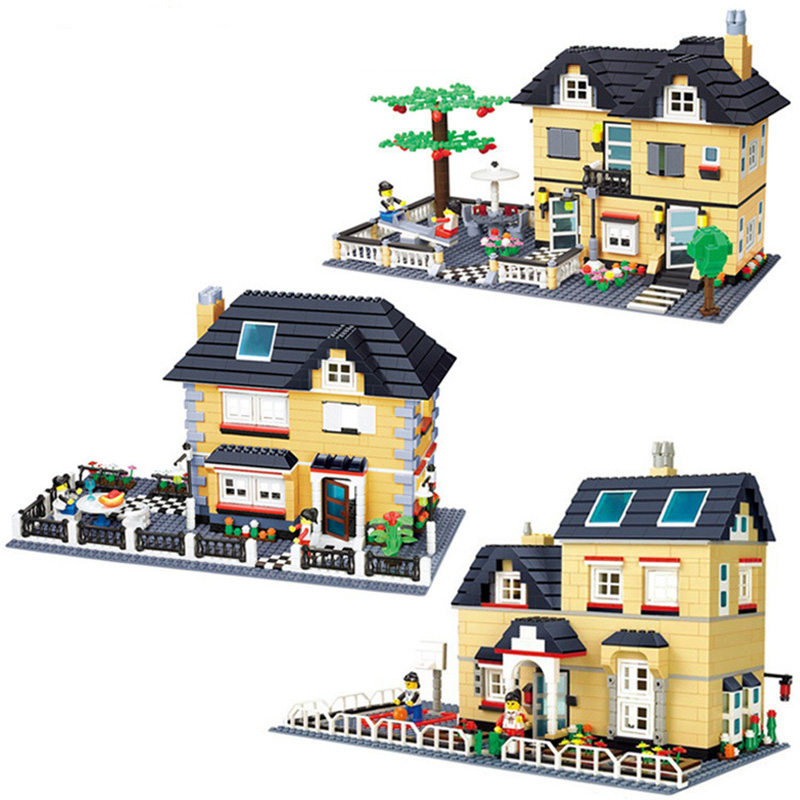KAZI City House Villa Mini Structure Series Action Model Building Block Set Brick Creative DIY Toys For Children Gifts <br>