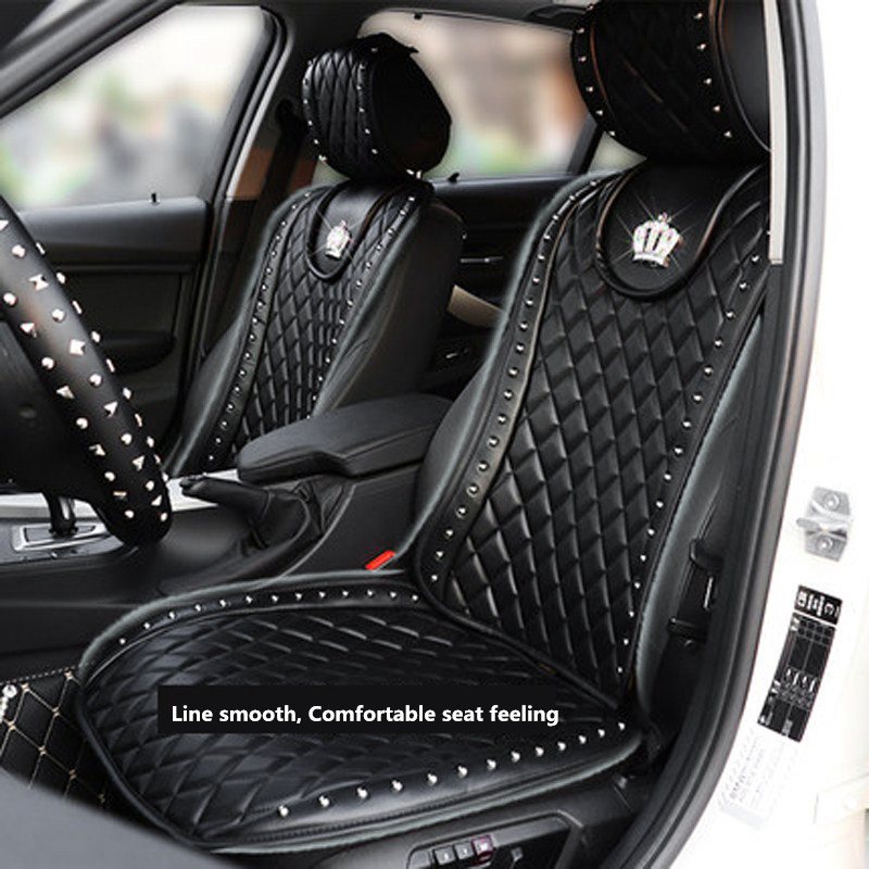 Cushion Interior-Accessories Car-Seat-Cover Crown Crystal Universal Car-Styling Rivets title=