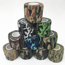 Army Camo Camouflage Elastic Tape Durable Disposable Waterproof Nonwoven Wrist Wound Bandage Sports Support Tatoo Grip Wrap(China)