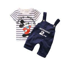 Cartoon Baby Boys Clothing Set 2017 New Toddler Boys Clothes Summer Mickey Fashion Kids Clothes T-shirt+Suspender Shorts T548