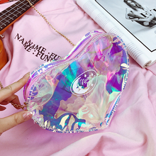 Transparent Heart-shaped Bag 2017 Summer New Design Handbag Women Lovely Shoulder Mini Chain Bag