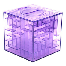 PHFU Plastic Cubic Money Maze Bank Saving Coin Collection Case Box 3D Puzzle (Purple)(China)