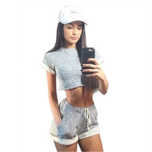 Women sexy Two Piece Set Top and Shorts Summer casual cropped Tracksuit short sleeve fashion gray Shorting Suit Female