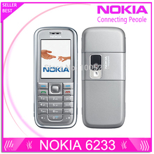 Refurbished original Nokia 6233 mobile phone with 2MP camera 3G loud speaker support Russian menu Russian keyboard free shipping