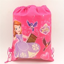 10pc\lot Sofia Princess Drawstring Gift Bags Birthday Party Decoration Non-Woven Fabric Kid Favors Backpack Baby Shower Supplies(China)