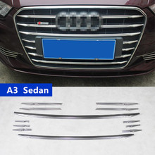 For Audi A3 Sedan Car Front Air Grille Cover Trim Strips Exterior Accessories 12pcs Stainless Steel Decoration Sequin