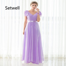 Setwell Sexy V-Neck Backless Bridesmaid Dresses Chiffon Summer Beach Wedding Gowns Custom Made Long Bridesmaid Dress(China)
