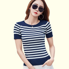 Buy Mujeres Tops T Shirt Women 2017 Summer Knitting Cotton Slim Woman T-Shirt Striped O-Neck T-Shirts Short Sleeves Womens Clothing for $7.77 in AliExpress store