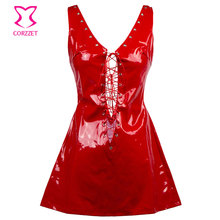 Buy Deep V Neck Lace Sleeveless Backless Short Red PVC Fetish Dress Club Wear Latex Rubber Dresses Hot Sexy Erotic Lingerie Women