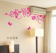 TV Background Wall Stickers Wall Painting Air Conditioning Stickers Vine Flower Butterfly Removable PVC Wall Sticker 60*90cm