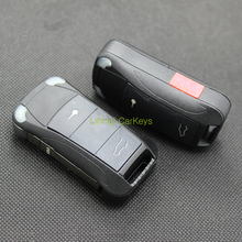 LinHui for PORSCHE Key Case 2+1 Side Buttons Uncut Blank Cooper Blade Replace Car Key ABS Shell 1 PC With Logo