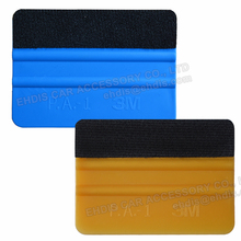 EHDIS 2pcs 3M Gold/Blue Squeegee with Felt Cloth Car Sticker Cleaner Tools Vinyl Scrapers Vehicles Film Wrap Glue Cleaning Tools(China)