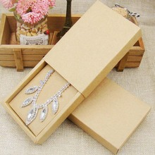 48pcs 4.5*3.15*1.0inch kraft paper jewelry display box custom logo printed necklace pendant box earring package cardboard box