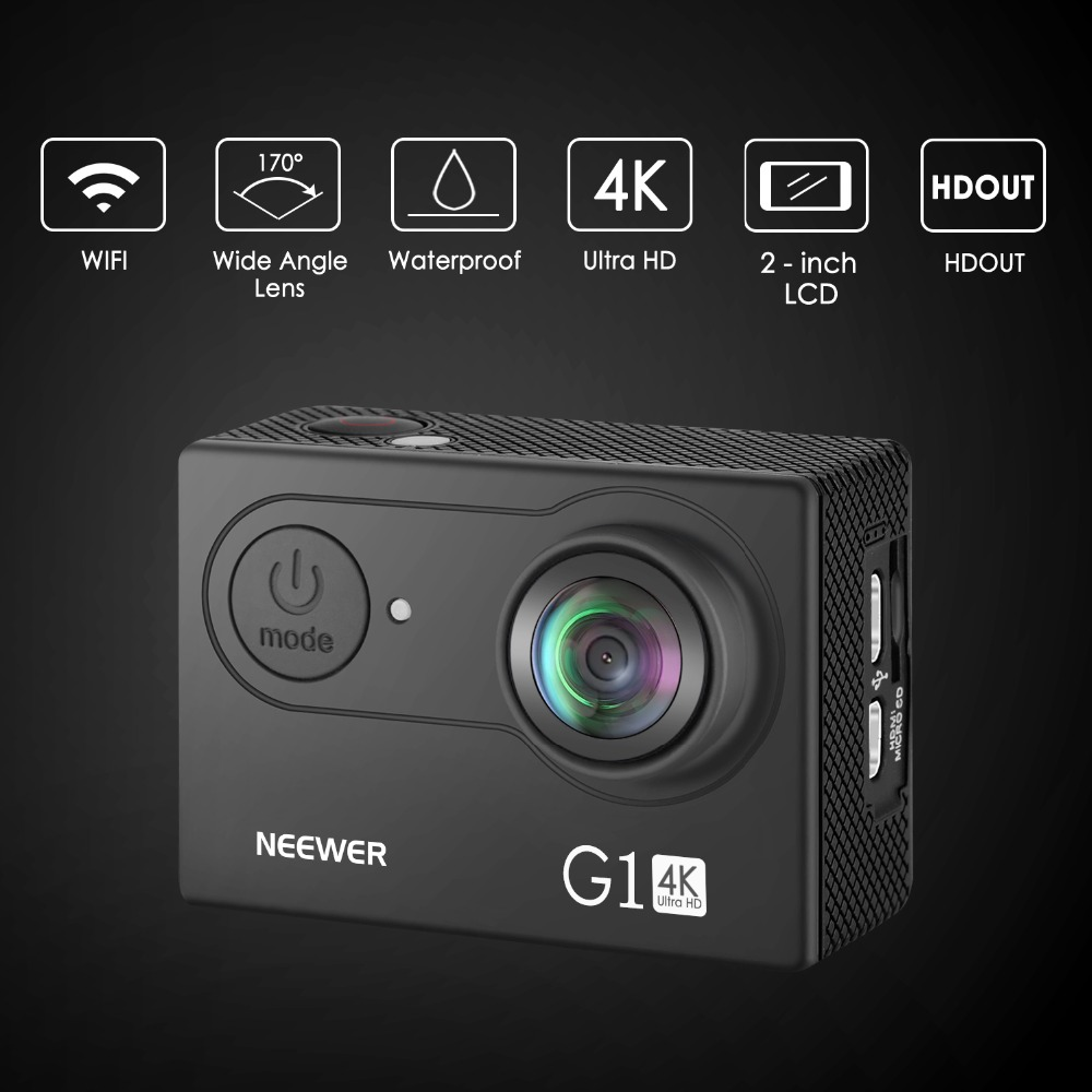 Neewer G1 Ultra HD 4K Action Camera Waterproof Camera 170 Degree Wide Angle WiFi Sports Cam Sensor 2-inch Screen Accessories Kit 12