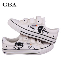 Gba New 2017 Summer Graffiti Canvas Shoes Flat Hand Painted Cartoon Women Shoes White Size 35~44 Hot Sales Plus Zapatos Mujer(China)