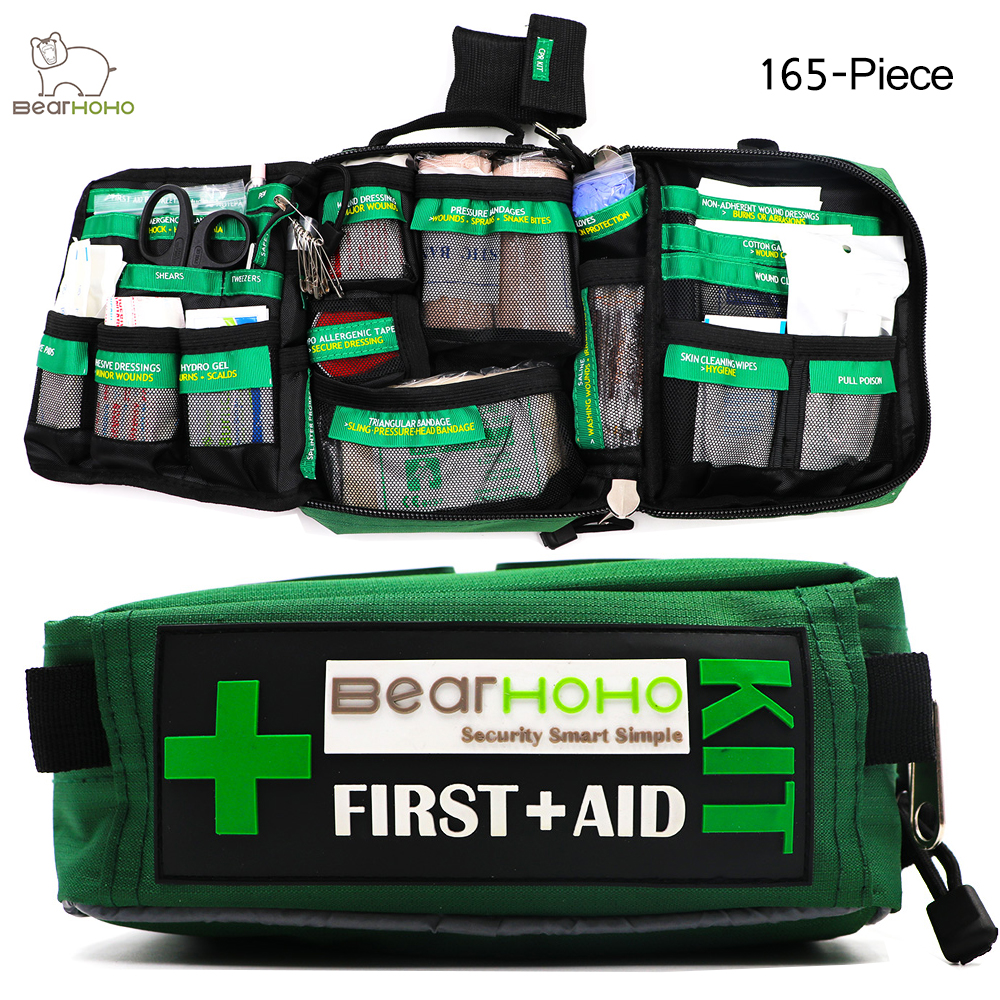 BearHoHo Handy First Aid Kit Bag 165-Piece Emergency Medical Rescue Workplace Outdoors Car Luggage School Hiking 3 Layers pocket<br>
