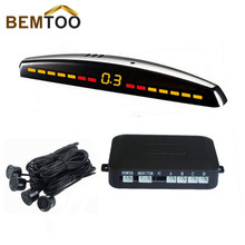 Car LED display parking sensor kit Multi-Color 4 Sensors Reverse Backup Radar System,Free Shipping
