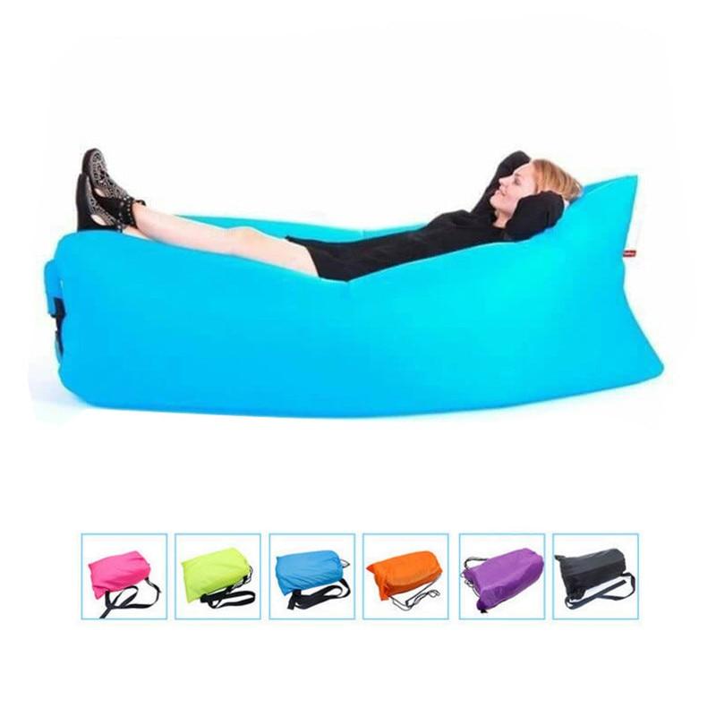 Portable Beach sleeping bags Outdoor Inflatable Bone Furniture Sofa Hammock Sleeping Camping Air Bed Nylon Lazy Air Sofa Bag 1pc<br>