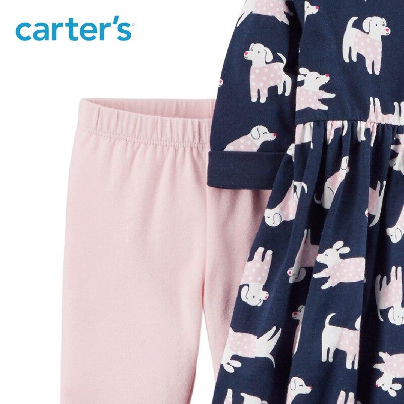 2-Pièce de Carter bébé enfants enfants vêtements fille printemps et d'été doux chien imprimer Robe et Legging Ensemble 121I331 13